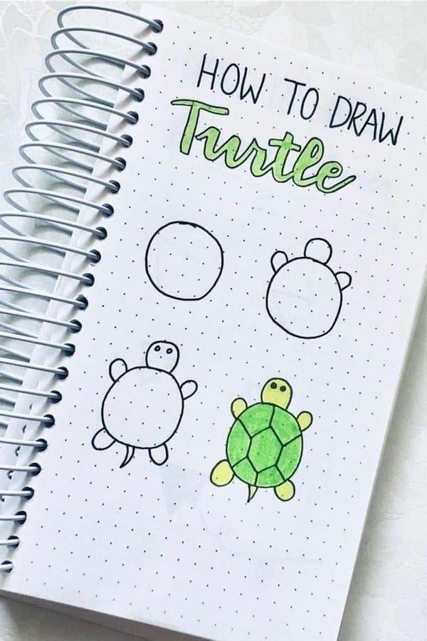 Обучалки по рисованию №2. Учимся рисовать черепаху одним способом