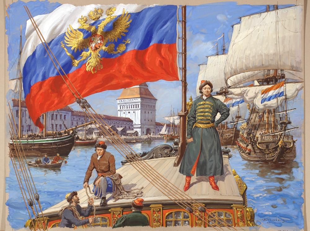Первым российским правителем, кто повелел «на торговых всяких судах» поднимать бело-синий-красный флаг, был: